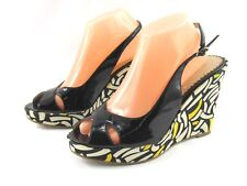 MIA Blossom Women's Black Patent Slingback Wedge Sandals Shoes 8.5M New