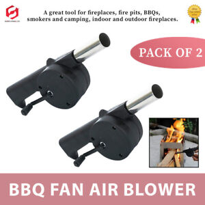 2x Portable BBQ Grill Fan Bellows Barbecue Fire Air Blower Camping Flame Light