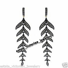Cut Diamond Silver Leaf Earring Jewelery Artdeco Estate 3.90ct Genuine Pave Rose
