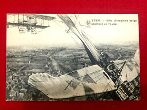 Vintage WW1 Rare Postcard - Belgian plane shooting down a German Taube over Yser