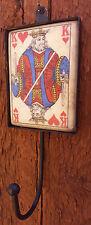 "Distressed Playing Card Wall Hook Hanger King Hearts-Tile w Metal Hook-9"" Total"