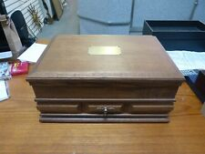 LARGE WOODEN FLATWARE BOX WITH DRAWER
