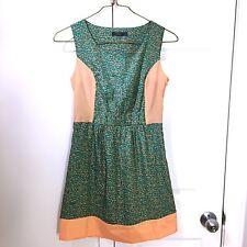 THML Kelly Green Pink Sheath Dress Stitch Fix Anthropologie Small