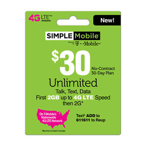 SIMPLE MOBILE  Prepaid $30 Refill Top-Up Prepaid Card ,PIN / RECHARGE