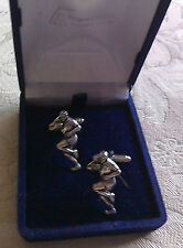 Rugby Player cuff links, hand made in English pewter. in presentation box