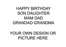 LARGE A5 GLOSSY PERSONALISED BIRTHDAY CARD YOUR OWN DESIGN
