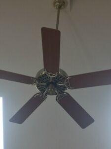 "Vintage HUNTER 52"" ORIGINAL CAST IRON Brass BROWN Ceiling Fan w Remote 4' rod"