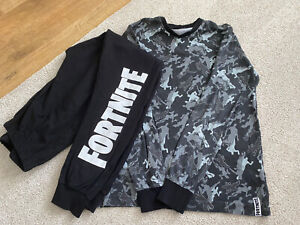 Boys Fortnite Black & Grey Pyjamas Size L 12-13 Years Camo Print 100% Cotton
