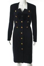 Escada Couture Black Velvet Gold Tone Hardware Bow Dress Jacket Size 42