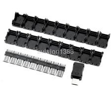 10pcs Micro USB 5 Pin T Port Male Plug Socket Connector + Plastic Cover DIY