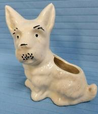 """Vintage Scottish Scotty Terrier Puppy Dog Ceramic Figurine Vase White 5"""" tall"""