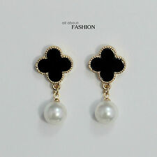 Earring Cilp Gold Black White Clover Pearl Flower Drop Pendant Vintage YW4
