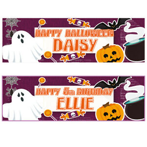 2 PERSONALISED SCARY HALLOWEEN BANNERS - ANY NAME - ANY MESSAGE