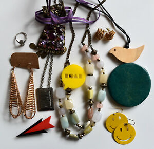 Mixed Jewellery Lot 11 x Items Necklaces Earrings Brooches Ring Vintage