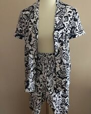 LAUREN Ralph Lauren Size S Navy White Paisley  Cotton Knit Bermuda Pajama  Set