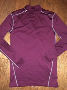 Under Armour Cold Gear Maroon Burgundy Mock Neck Compression Long Sleeve Size L