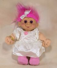 "Troll Girl Doll 12"" Multi Toys Vinyl and Cloth 1992 Pink Hair Pink Eyes"