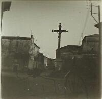 FRANCE Agde ou Sète à identifier Crucifix Photo Stereo Plaque de Verre