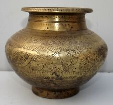 Vintage Hand Engraved Water Pot Old Brass Lion Carved Water Pot Drinking Pot