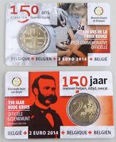 2 Euro Belgien 2014 150 Jahre Rotes Kreuz wallonisch in Coincard unz