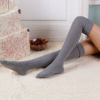 Women Long Stocking Winter Warm Knitted Over Knee Thigh-High Blend Cotton Socks