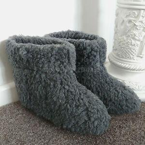 Merino's Grey Sheep Wool Boots Slippers Sheepskin Real Suede Sole Womens Ladies