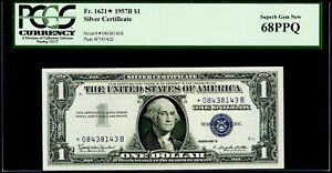$1 1957B Silver * Star Certificate Fr. 1621* PCGS Superb Gem New 68 PPQ