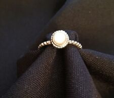 Vintage RJ 925 Sterling OPAL Ring Beaded Band Size 6 Beautiful