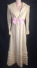 "Lorrie Deb 60-70's VTG Prairie Ivory Lace Dress Full Length Small 28"" Bust Union"