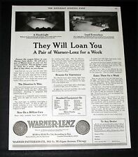 1919 OLD MAGAZINE PRINT AD, WARNER-LENZ AUTOMOBILE HEAD LIGHTS, ON LOAN TO YOU!