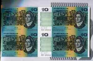Australia 1991, 10 Dollars, P45g, Uncut sheet of 4, UNC