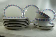 Shenango Form 8 Din., 3 Salad Plates 2 Bowl Restaurant Ware Blue Lavender Square