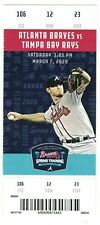 2020 Tampa Bay Rays @ Atlanta Braves Ticket Stub  3-7-20 Mike Soroka