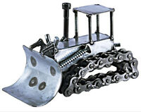 Bulldozer Hand Crafted Recycled Metal Art Sculpture Figurine