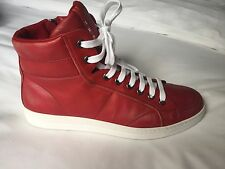 Mens Prada Vitello Vintage High-Top Sneakers Red UK 10 / EU 44