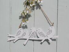 Deko Vogelgruppe zum Hängen Weiß Fensterbild Hänger Metall Shabby 30x H.10 cm
