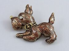 LIZ CLAIBORNE Gold Tone Scottie Dog Pin Brooch w/ Heart Red Rhinestone Collar