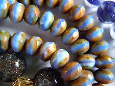 Neue Cornflower Blue Schliffrondelle m.brown-rosé Picasso-Enden -6x9mm- 25Stk.