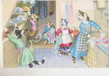 Signed Alfred Mainzer Cat Postcard,#4851,Cats with Cabinet Falling,Belgium,1950s