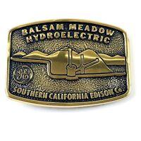Vintage BTS 1983 Solid Brass Belt Buckle GE Balsam Meadow Southern CA Edison Co