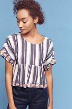 NWT ANTHROPOLOGIE MAEVE VIEQUES EMBROIDERED MIDI BLOUSE TOP BLUE M PM PETITE 8