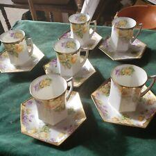 6 CS Prussia Carl Schlegelmilch Gold Gilt Floral Tea Cups & Saucers 1882-1912
