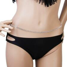 2-row Diamante Crystal Bikini Belly Body Waist Chain Necklace Dress Belt Fab