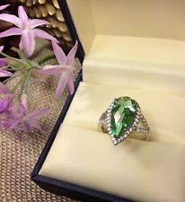 925 Sterling Silver Pear Cut  Green CZ Halo Gemstone Ring SZ-6 Fine Jewelry