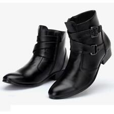 Mens British Cuban Heel Ankle Boots Pointed Toe Buckle Strap Zip cowboy Shoes @