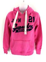 SUPERDRY Womens Hoodie Jumper XS Pink Cotton & Polyester