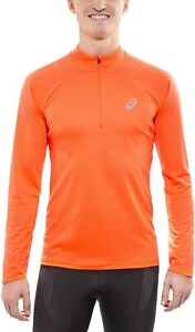 Asics Men's Running Top 1/2 Zip Mile Long Sleeve Jersey - Orange - New