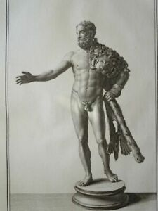 Herkules Antike Statue 77 Palmo Romano Herculaneum Ercolano EA Kupferstich 1757