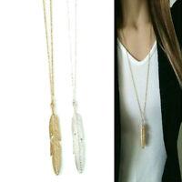 Frauen Feder Anhänger lange Kette Halskette Pullover Anweisung Vintage-Schm CJ