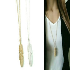 Women Feather Pendant Long Chain Necklace Sweater Statement Vintage Jewelry GY